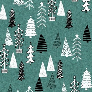 Christmas Tree Forest - Evergreen Linen with Black and White by Andrea Lauren