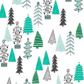 Christmas Tree Forest - Kelly Green, Pale Turquoise on White by Andrea Lauren