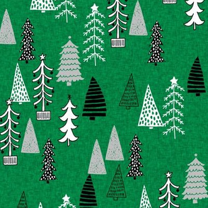 Christmas Tree Forest - Kelly Green Linen with Slate Grey, Black and White by Andrea Lauren