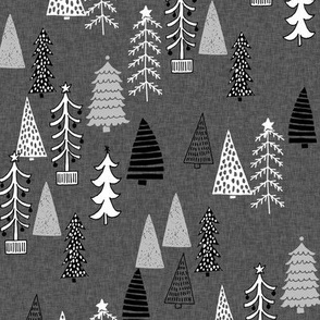 Christmas Tree Forest - Night Grey Linen Black and White by Andrea Lauren