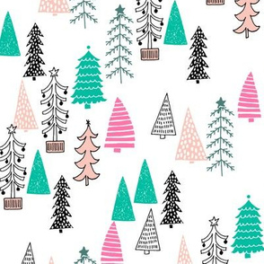 Christmas tree Forest - Pale Pink, Raspberry by Andrea Lauren