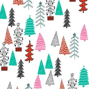 Christmas Tree Forest - Raspberry, Scarlet, Ivy Green by Andrea Lauren