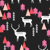 Reindeer Forest - Pinks and Black by Andrea Lauren
