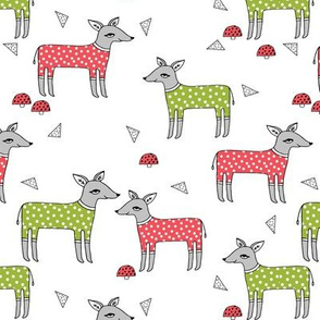 Reindeer Pajamas - Lime Green and Rudolph Red by Andrea Lauren