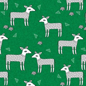 Reindeer Pajamas - Kelly Green Linen with Slate Grey PJs by Andrea Lauren