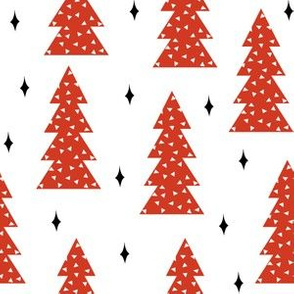 christmas tree // trees red and white scandi cute winter holiday xmas tree fabric andrea lauren fabric