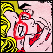 10 pop art comics girl woman kiss hug vintage retro red spectacles glasses shirt roy lichtenstein inspired crying tears