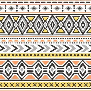 Tribal Aztec Rows in Yellow Orange