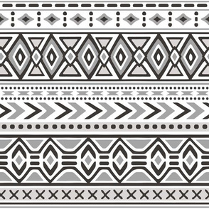Tribal Aztec Rows in Black White Grey