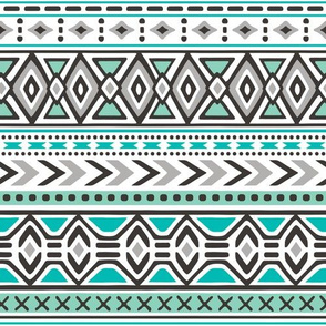 Tribal Aztec Rows in Mint Green