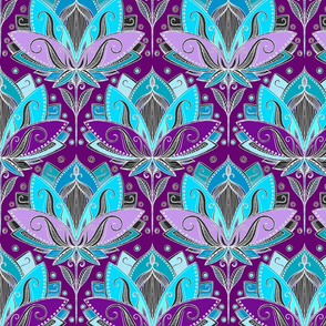 Art Deco Lotus Rising in Turquoise, Purple and Teal