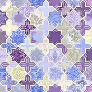 Decorative Geometric Tiles in Cream, Lilac and Lavender