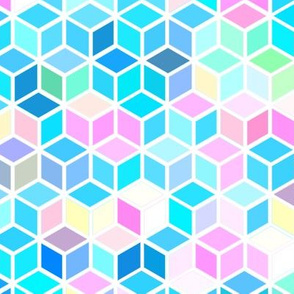 Bright Pink and Turquoise Diamond Hexagon Pattern