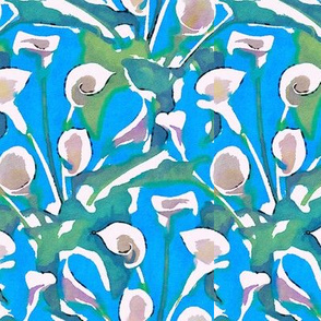 Stylized watercolor callas on a blue ground