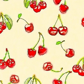 Watercolor cherries on a creamy yellow ground