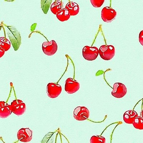 Watercolor cherries on a mint ground
