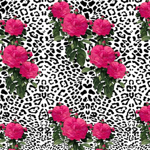 Ooh La La! Leopard with Hot Pink Redoute Roses ~ Medium