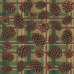 Pinecones on green plaid