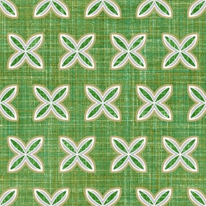 Faux Linen Cuatro leaf green
