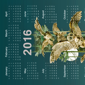 Owl Flight Teal Blue Tea Towel Calendar -2016