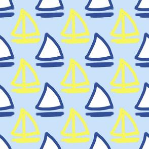 Blue and Yellow Sailboats