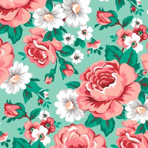 Floral with Roses in Mint