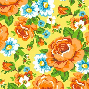 Floral with Roses in Yellow Orange
