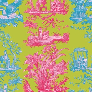 Chinoiserie Toile ~ Courtesan, Usurper, Lulu and Caledonian Blue
