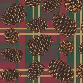Pinecones on red plaid