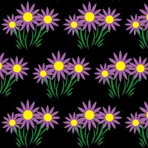 Danita's Purple Flowers on Black