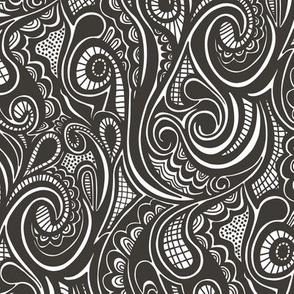 Swirl waves Doodle Black&White