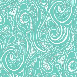 Swirl Waves Doodle Green Mint