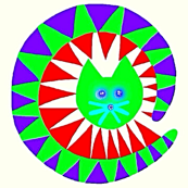 Carnival Cat Red Green Blue