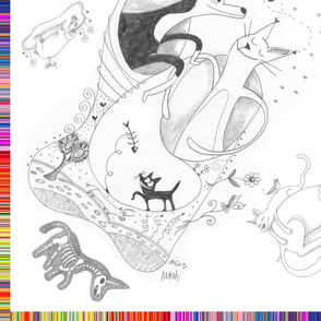 Fanciful Sketch Drawings Scarf