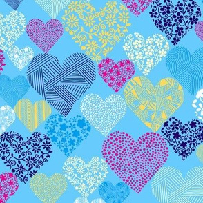 Eclectic Patterned Hearts on Blue Background