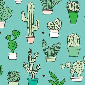 Cactus cacti garden botanical succulent green garden pattern blue illustration print large