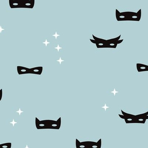 Cool blue super hero mask and stars kids fantasy theme illustration pattern