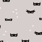 Warm gray super hero mask and stars kids fantasy theme illustration pattern