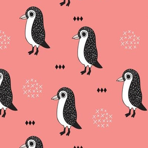 Adorable baby penguin geometric birds illustration and cross and arrow details pattern