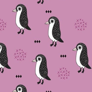 Adorable baby penguin geometric birds illustration and cross and arrow details pattern violet lilac