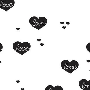 Sweet love scandinavian hearts cool pastel blue valentine and wedding theme black and white