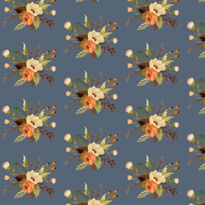 Autumn Floral on Steel Blue Grey