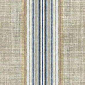 Faux linen ticking stripe in taupe and blue