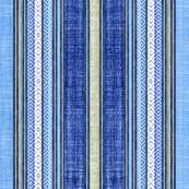 Faux linen ticking in denim blue