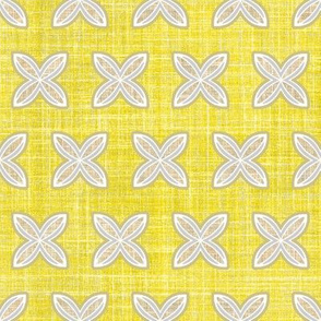 Faux Linen Citron Lemon motif