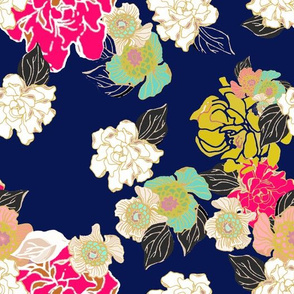 Jungle Passion navy extra large wallpaper for Jame