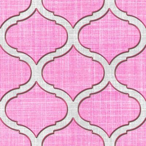 Faux Linen Medallion Motif in pink