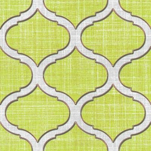 Faux linen medallion spring green