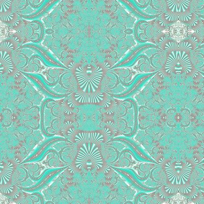 Light Turquoise Fractal Brocade