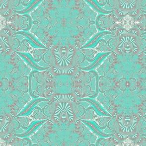 Light Turquoise Fractal Brocade